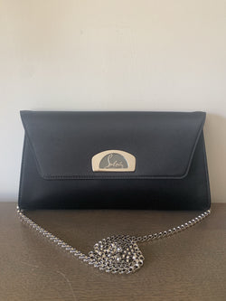 Christian Louboutin Vero Clutch On Chain In Black Satin RRP €950