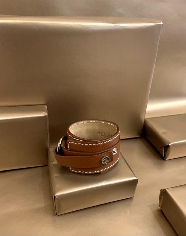 Celine Boogie Tan Leather Bracelet