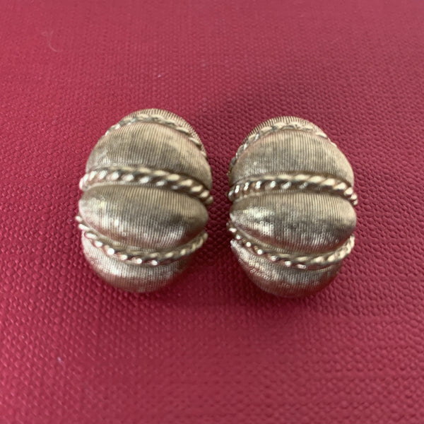 Christian Dior Vintage Brushed Gold Plated Clip Ornate Earrings