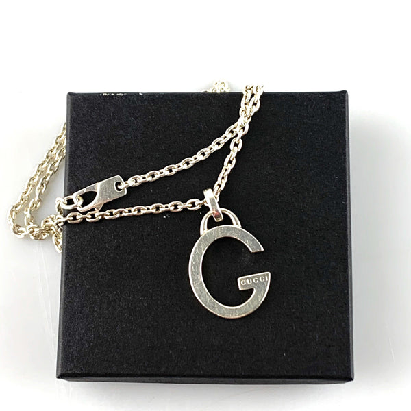 Gucci Sterling Silver G Pendant On Long Chain 29cm