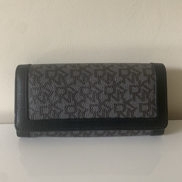 DKNY Black Monogram Long Flap Wallet (2)