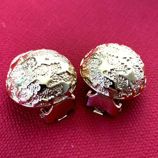 Christian Dior Vintage Gold Plated Round Clip On Earrings
