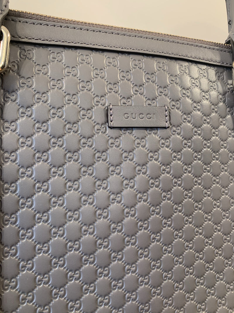 Gucci Grey Micro Guccissima Leather Tote With Strap GH