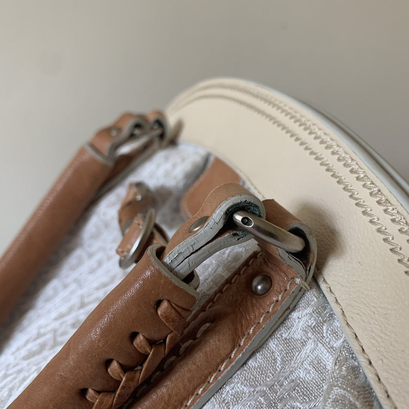 Christian Dior Cream Monogram/Tan Leather Trotter