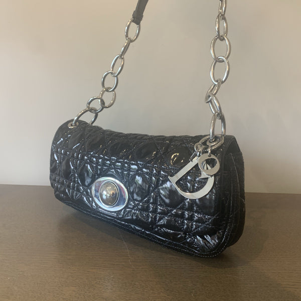 Christian Dior Black Patent Leather Cannage Quilt Rendezvous Shoulder Bag