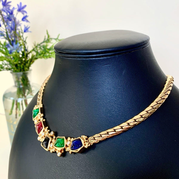 Christian Dior Vintage Goldtone Necklace With Red/Blue/Green/White Stones