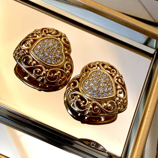 Christian Dior Vintage Heart And Diamante Goldtone Clip On Earrings