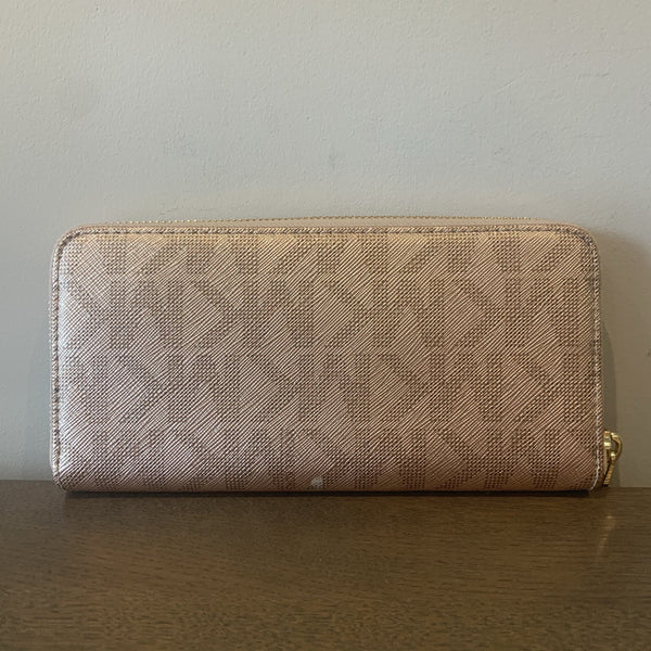 Michael Kors Rose Gold Monogram Long Zip Wallet