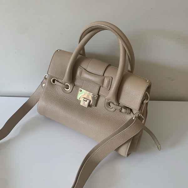 Jimmy Choo Beige Leather Rosalie Satchel Small RRP €1,000