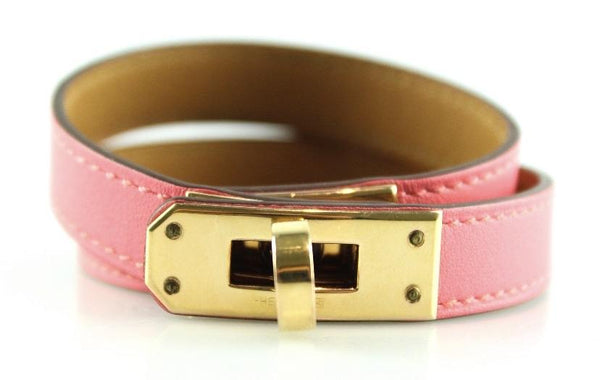 Hermes Double Tour Kelly Bracelet Rose Jaipur Medium (2) GH