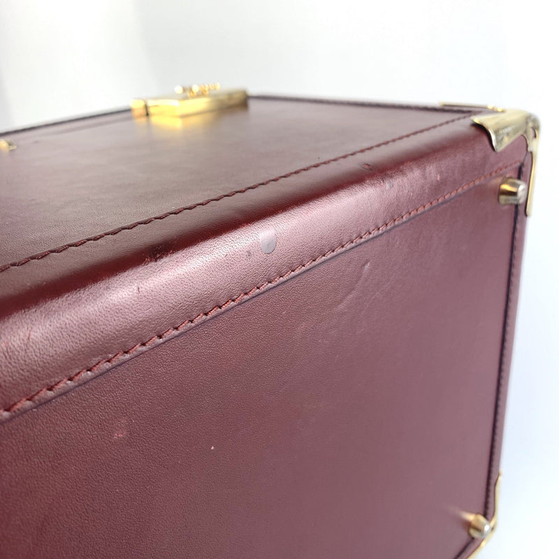 Cartier Vintage Burgundy Leather Cosmetic Travel Case