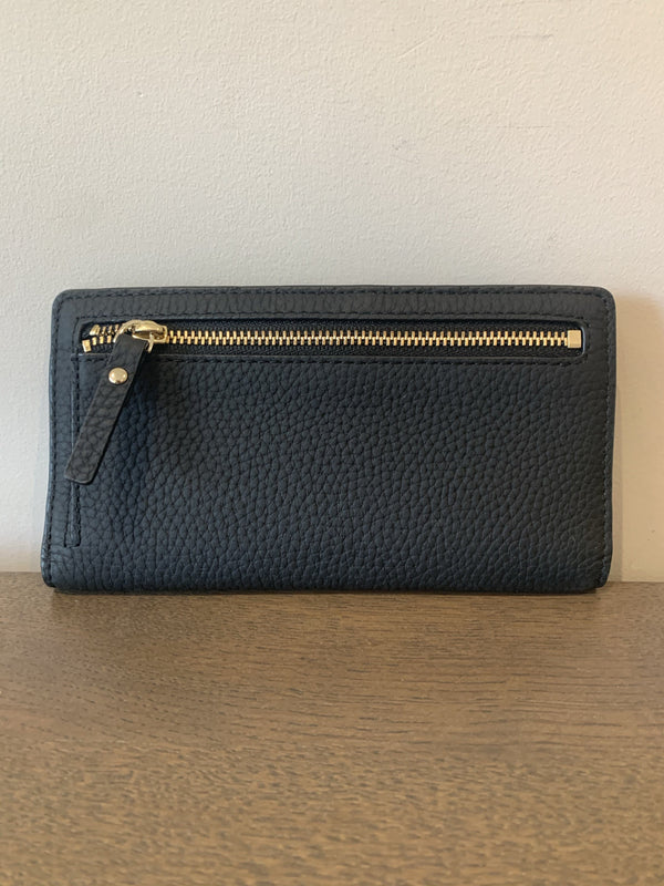 Kate Spade Black Leather Floral Bifold Wallet