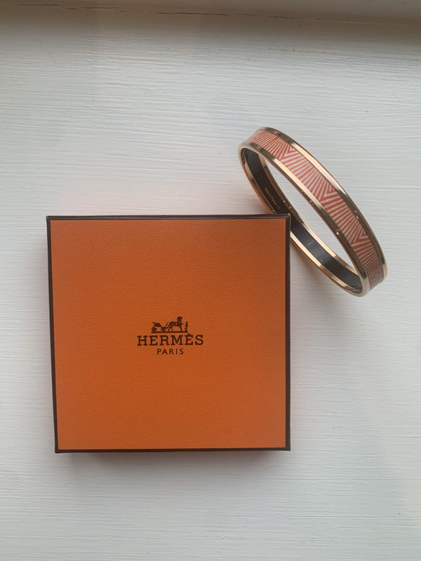Hermes Orange Caleche Thin Bangle
