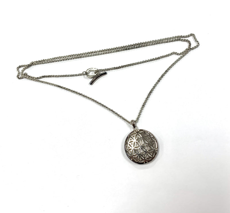 Links Of London Long Toggle Sterling Silver Necklace With Perforated Sphere Pendant