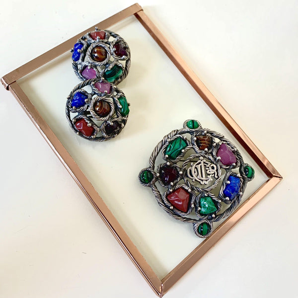 Dior Germany Vintage Brooch And Earring Set Multicolour Costume Gemstones