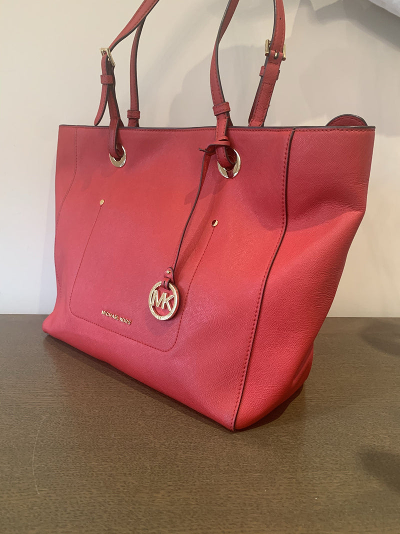 Michael Kors Red Saffiano Walsh Tote Large GH