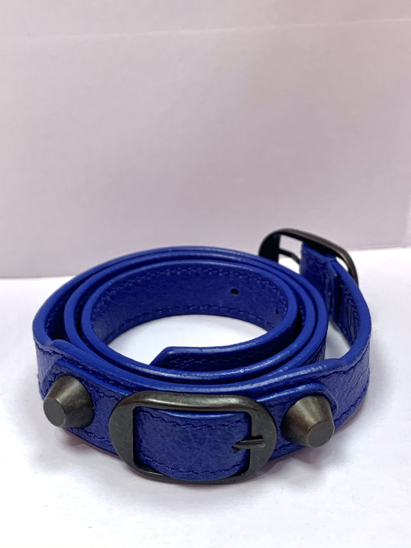 Balenciaga Blue Leather Double Wrap Classic Arena Bracelet