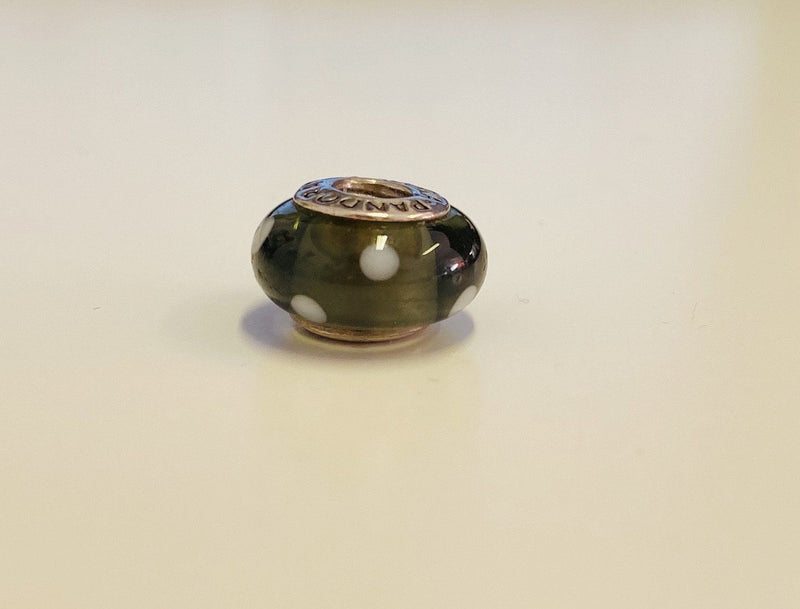 Pandora Murano Glass Grey/Black Polka Dot Charm