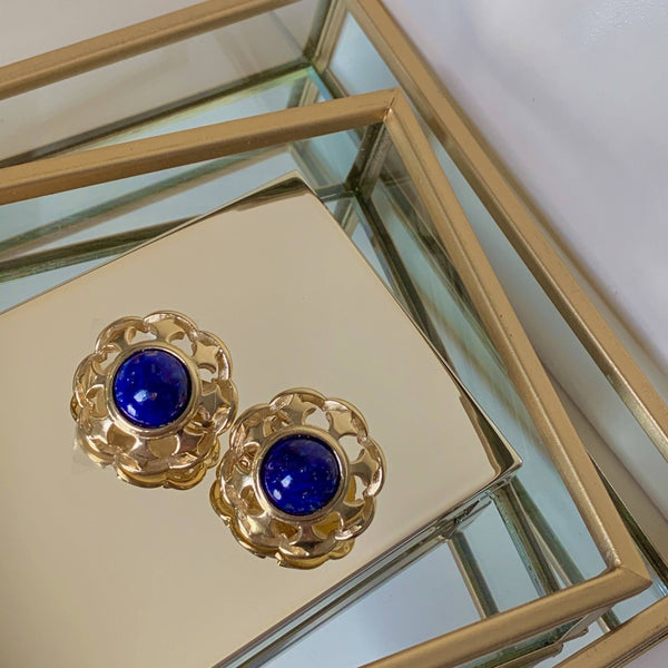 Burberry's Vintage Blue Stone Gold Plated Ornate Clip On Earrings