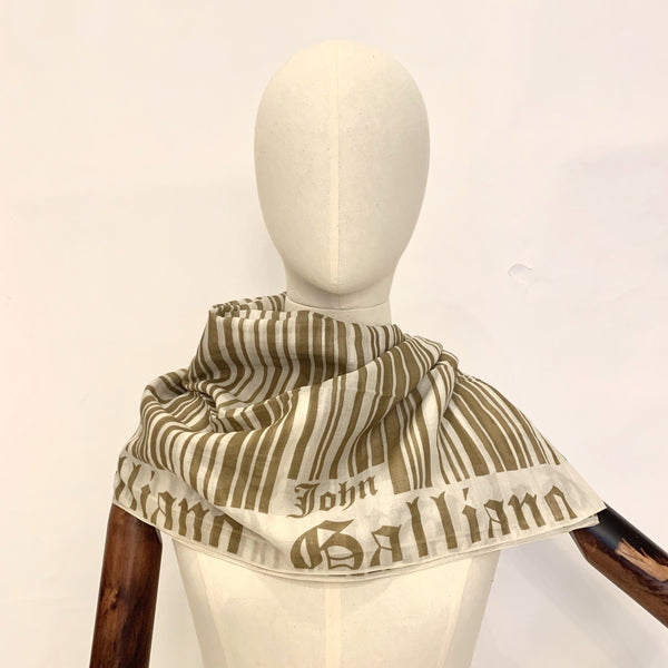 John Galliano Khaki Striped Scarf