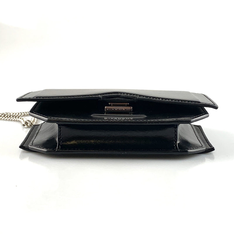Givenchy Black Calfskin Bow Cut Wallet On Chain
