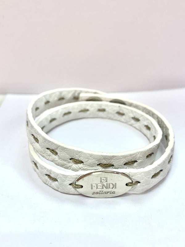 Fendi White Selleria Leather Double Wrap Bracelet