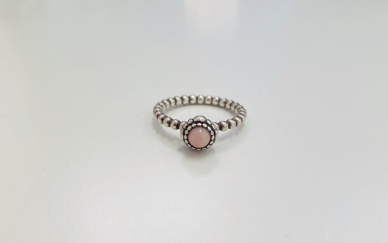 Pandora Pink Opal And Silver Birth Stone Ring (October)