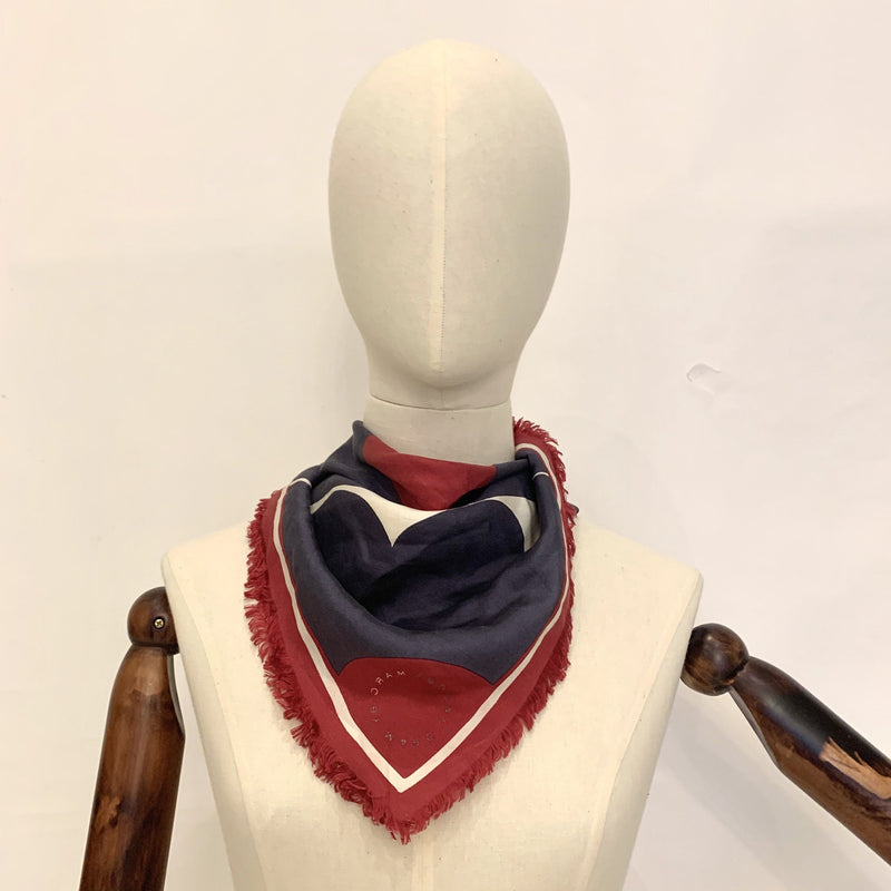 Marc Jacobs Red/White/Navy Small Silk Scarf