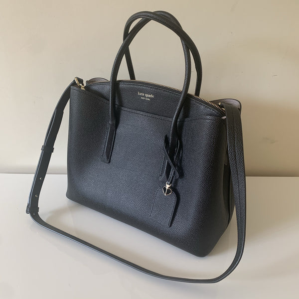 Kate Spade Margaux Large Satchel In Black Grained Leather RRP €395