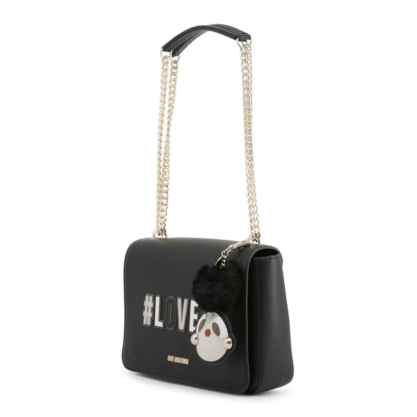 "Love Moschino Large Black ""Love"" Flap Chain Bag"