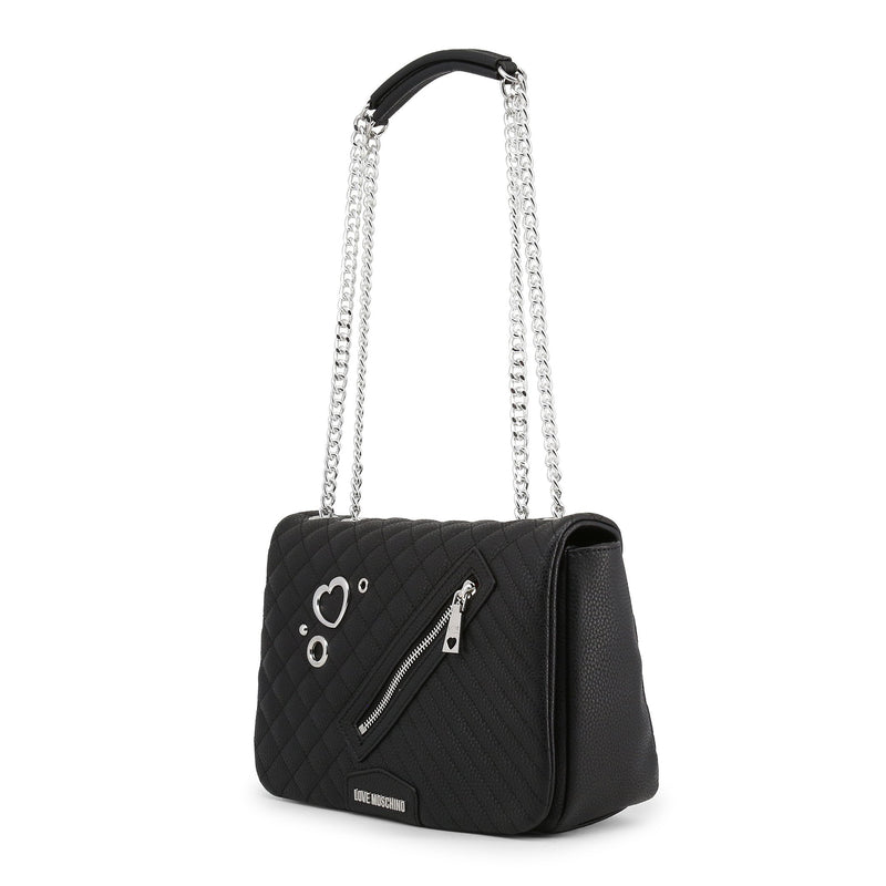 Love Moschino Quilted Zip Detail Silver Heart Flap Bag