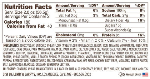 Lenny Larry Complete Cookie Nutrition Label