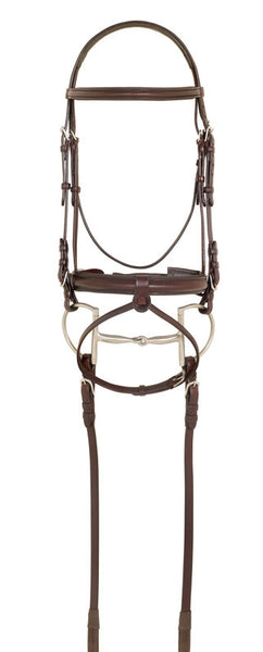 Ovation Wide Crank Hidden Flash Bridle with Rubber Reins