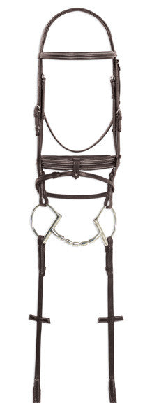 Ovation Double Raised Bridle with Rubber Reins