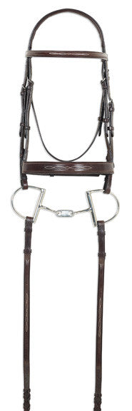 Ovation Fancy Wide Noseband Bridle with Fancy Raised Laced Reins