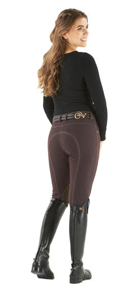 Ovation Women Euro Jean Zip Front Knee Patch Breech