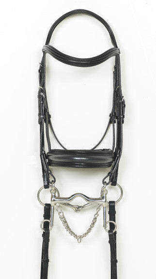 Ovation Weymouth Double Bridle with Crank, Rubber Lined Snaffle Reins and Flat Curb Reins