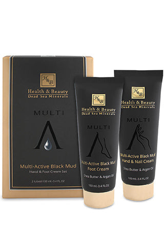 Health & Beauty - Multi-Active Black Mud Hand & Foot Cream Set - Dead Sea Cosmetics Products