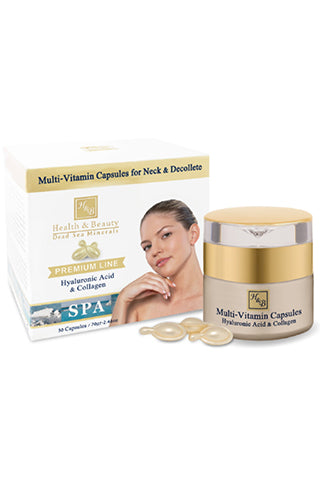 Health & Beauty - Multi-Vitamin Capsules for Neck & Decollete with Hyaluronic Acid & Collagen - Dead Sea Cosmetics Products