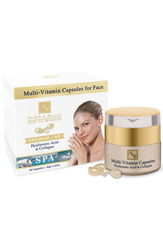 Health & Beauty - Multi-Vitamin Capsules for Face with Hyaluronic Acid & Collagen - Dead Sea Cosmetics Products