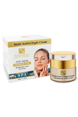 Health & Beauty - Multi Active Night Cream With Hyaluronic acid and Caviar extract - Dead Sea Cosmetics Shop