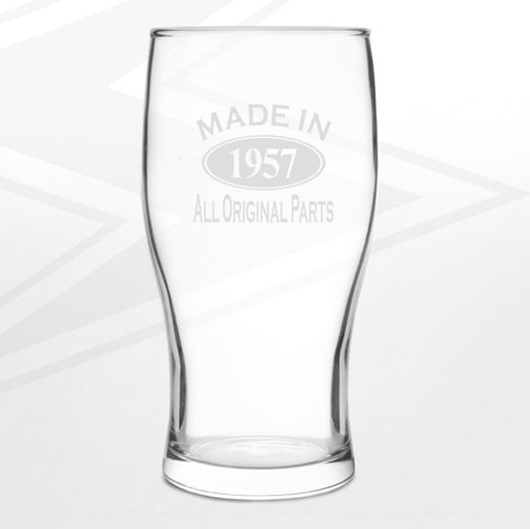 1957 Pint Glass Engraved Made in 1957 All Original Parts
