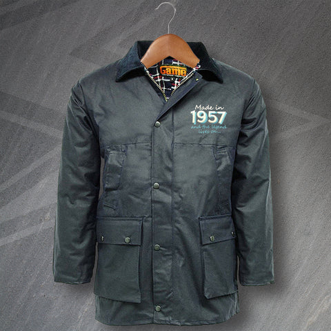 1957 Wax Jacket Embroidered Padded Made in 1957 and The Legend Lives On