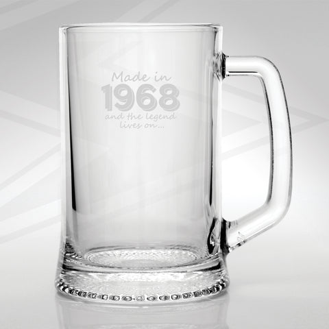 1968 Glass Tankard Engraved Made in 1968 and The Legend Lives On