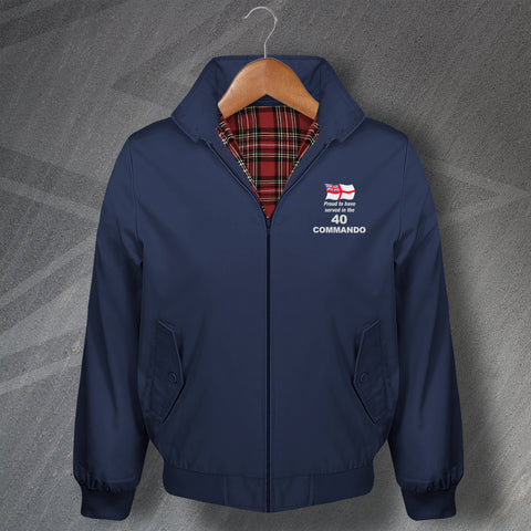 Proud to Have Served in The 40 Commando Embroidered Classic Harrington Jacket