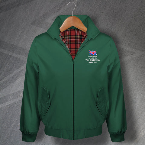 Proud to Have Served in The 7th Gurkha Rifles Embroidered Classic Harrington Jacket