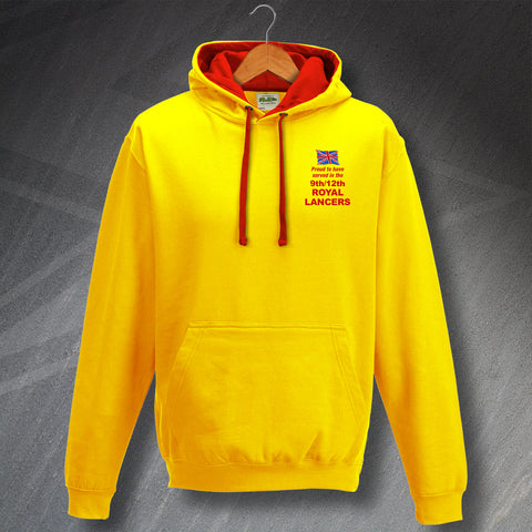 Proud to Have Served In The 9th/12th Royal Lancers Embroidered Contrast Hoodie