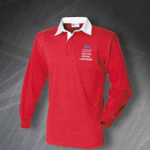 Proud to Have Served In The 9th/12th Royal Lancers Embroidered Rugby Shirt