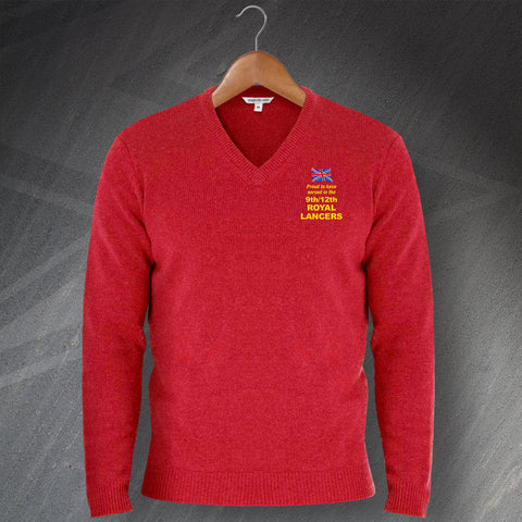 Proud to Have Served In The 9th/12th Royal Lancers Embroidered V-Neck Jumper