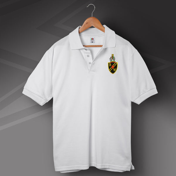 Retro bolton polo shirt with embroidered badge for sale for Embroidered police polo shirts